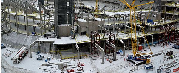 Byggandet av Tele2 Arena krävde sin Bas P Bas U